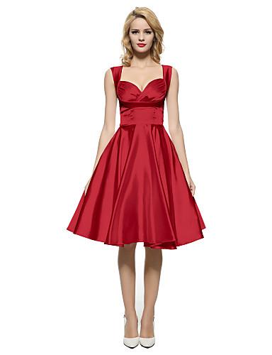 preiswerte Damen Kleider-Damen Party Retro Anspruchsvoll Hülle Das kleine Schwarze Swing Kleid Solide Maxi Knielang Sweetheart