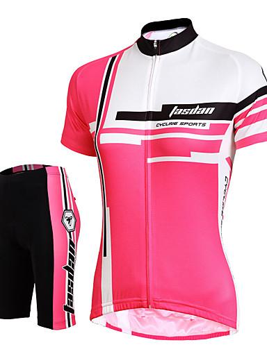 povoljno Odjeća za vožnju biciklom-Žene Kratkih rukava Biciklistička majica s kratkim hlačama Crvena Pink Jedna barva Bicikl Kratke hlače Biciklistička majica Podstavljene kratke hlače Prozračnost Pad 3D Quick dry Reflektirajuće trake