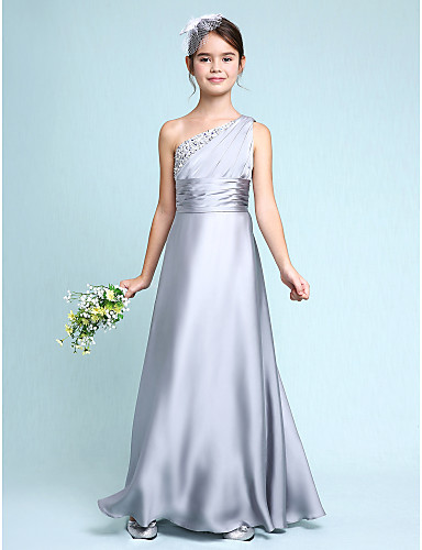 cheap Junior Bridesmaid Dresses-Sheath / Column One Shoulder Floor Length Chiffon Satin Junior Bridesmaid Dress with Ruched / Side Draping / Natural