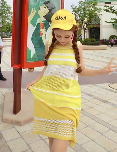 9df2a945cb0 Γυναικεία Εξόδου Απλό Πλεκτά Φόρεμα,Συνδυασμός Χρωμάτων Αμάνικο Στρογγυλή  Λαιμόκοψη Πάνω από το Γόνατο Κίτρινο Βαμβάκι ΚαλοκαίριΚανονική 5220231 2019  – ...