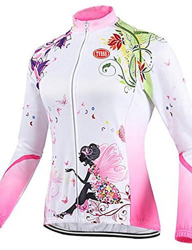 povoljno Biciklizam-TVSSS Žene Dugih rukava Biciklistička majica Kolaž Uglađeni Cvjetni / Botanički Bicikl Majice Prozračnost Sportski Zima Coolmax® Terilen Likra Odjeća / Visoka elastičnost