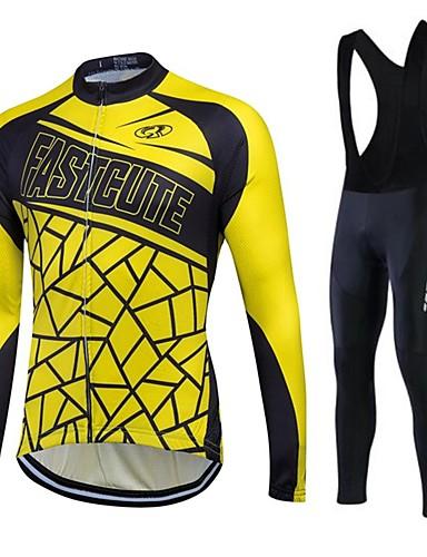 povoljno Odjeća za vožnju biciklom-Fastcute Muškarci Žene Dugih rukava Biciklistička majica s tregericama Yellow / Black Bicikl Hlače Biciklistička majica Biciklizam Hulahopke Ugrijati Podstava od flisa Prozračnost Pad 3D Quick dry