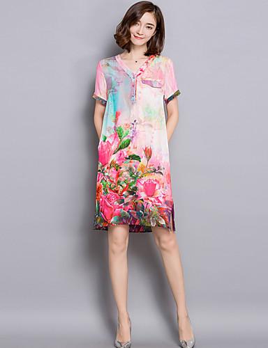 47f1c704615 Dámské Čínské vzory Běžné Denní Volné Šaty Květinový