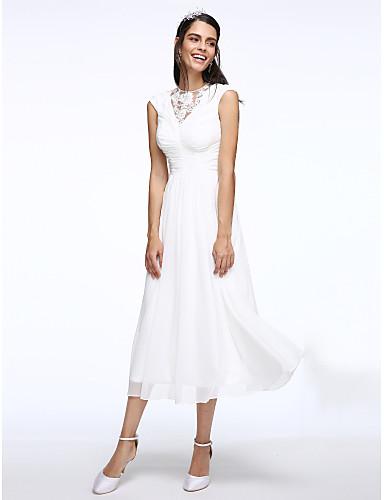 A-linje Prydd med juveler Telång Chiffong Remmar Liten vit klänning Bröllopsklänningar tillverkade med Veckad / Spetsinlägg 2020