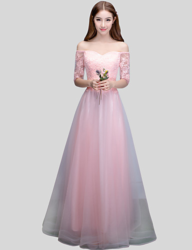 ราคาถูก Bridesmaid Dresses-บอลกาวน์ ไหล่ตก ลากพื้น ลูกไม้ ซาติน Tulle เพื่อนเจ้าสาวชุด กับ ริบบิ้น โดย LAN TING Express
