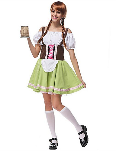preiswerte Karriere Uniformen-Halloween Karneval Oktoberfest Dirndl Trachtenkleider Damen Rock Kleid Bayerisch Kostüm