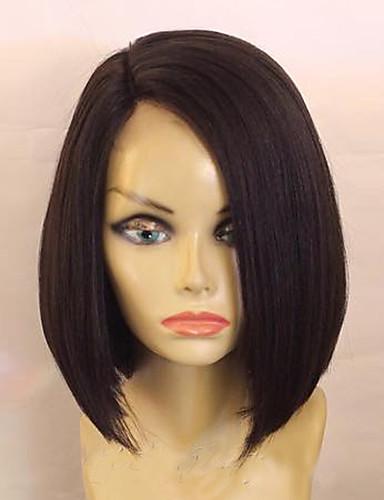povoljno Perike s ljudskom kosom-Ljudska kosa Perika s prednjom čipkom bez ljepila Lace Front Perika Bob frizura stil Brazilska kosa Ravan kroj Perika s dječjom kosom Prirodna linija za kosu Afro-američka perika 100% rađeno rukom