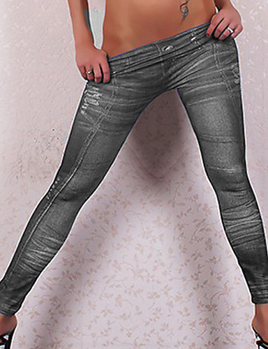 f82be79f42c60 Women's Daily Cotton Basic Legging - Solid Colored, Print Low Waist /  Skinny 5242749 2019 – $9.99