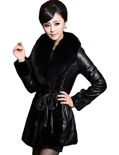 preiswerte Mäntel in Übergrößen-Damen Ausgehen Retro Winter Übergrössen Standard Lederjacken, Solide Schal Revers Langarm Pelzkragen Schwarz