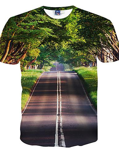 voordelige Heren T-shirts & tanktops-Heren Actief Print T-shirt 3D Ronde hals Slank Groen / Korte mouw / Zomer