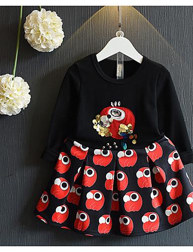 preiswerte Mode für Mädchen-Mädchen Alltag Druck Langarm Baumwolle Kleidungs Set Schwarz