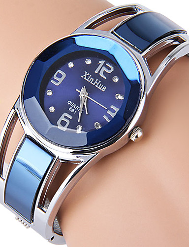 cheap Bracelet Watches-Women's Ladies Bracelet Watch Simulated Diamond Watch Quartz Stainless Steel Black / Blue Rhinestone Imitation Diamond Analog Bangle Fashion Dress Watch - Black Navy White One Year Battery Life