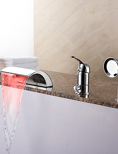 preiswerte LED Badewannenarmaturen-Badewannenarmaturen - Moderne Chrom Romanische Wanne Keramisches Ventil Bath Shower Mixer Taps / Messing / Einhand Drei Löcher