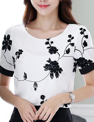preiswerte Blusen zu kaufen!-Damen Blumen Übergrössen Bluse Druck Weiß / Sommer