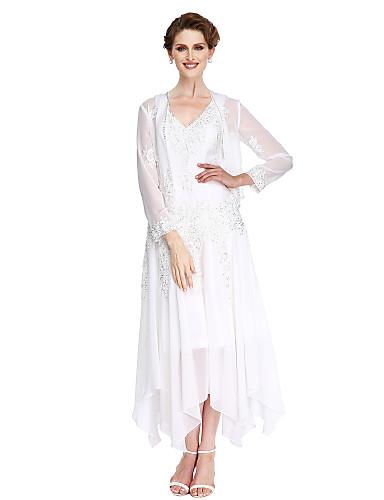 voordelige Gratis Verzending-A-lijn V-hals Asymmetrisch Chiffon / Beaded Lace Lange mouw Transformeerbare jurk Bruidsmoederjurken met Kralen / Appliqués Moederdag 2020