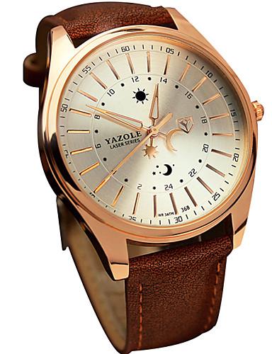 preiswerte YAZOLE®-YAZOLE Herrn Uhr Armbanduhr Quartz Leder Schwarz / Braun Schlussverkauf Cool / Analog Freizeit Schwarz Braun / Ein Jahr / SSUO 377