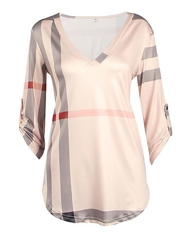 billige T-skjorter til damer-Bomull V-hals T-skjorte Dame - Ruter Hvit / Høst / Vinter
