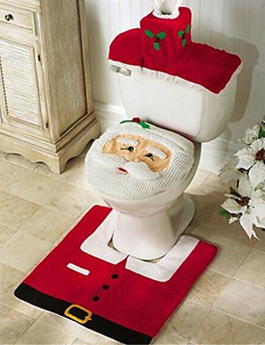 billige Julens andre ornamenter-santa snømann hjort ånds-toalett sete deksel teppe bad satt med papirhåndkle deksel til julegave nyttår hjemme dekorasjoner