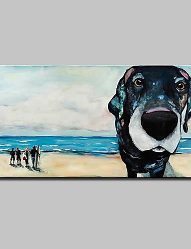 preiswerte Abstrakte Landschaftsbilder-Hang-Ölgemälde Handgemalte - Pop - Art Modern Europäischer Stil Mit der Fassung / Gestreckte Leinwand