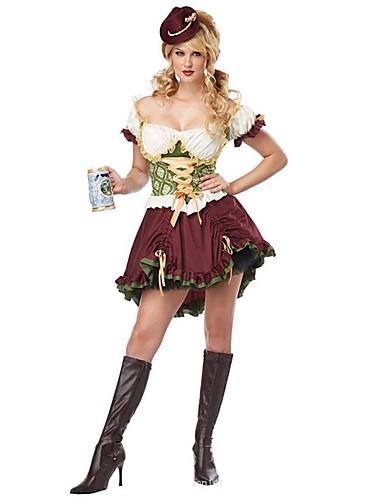 preiswerte Sexy Uniformen-Halloween Oktoberfest Dirndl Trachtenkleider Damen Kleid Kopfbedeckung Bayerisch Kostüm