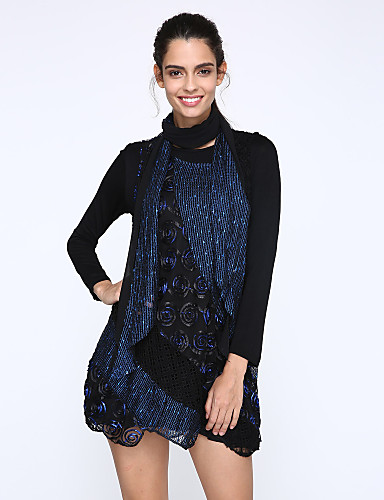 [$19.79] Women\'s Daily Plus Size Casual Loose Lace Skater Dress,Patchwork  Round Neck Above Knee Long Sleeves Fall Mid Rise Stretchy Medium