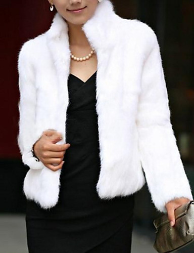 cheap Women's Outerwear-Women's Winter Short Fur Coat, Solid Colored Stand Long Sleeve Faux Fur Formal Style Black / White