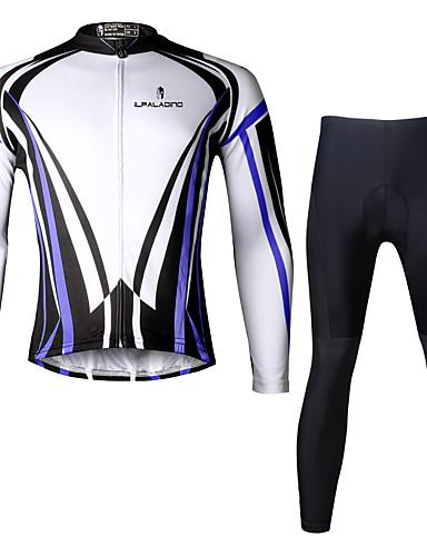 povoljno Odjeća za vožnju biciklom-ILPALADINO Muškarci Dugih rukava Biciklistička majica s tajicama Crn Bicikl Sportska odijela Prozračnost Pad 3D Quick dry Ultraviolet Resistant Reflektirajuće trake Sportski Likra Okomite trake
