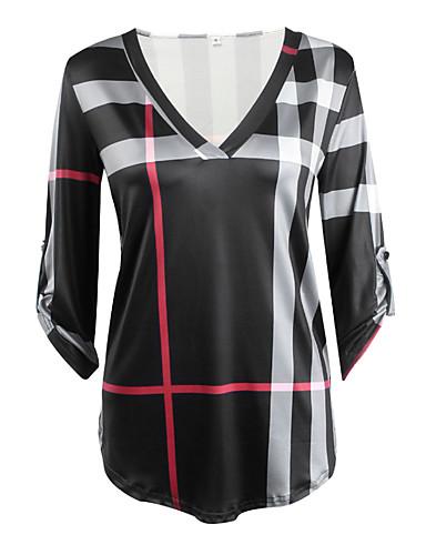 billige Dametopper-Bomull V-hals T-skjorte Dame - Ruter Hvit / Høst / Vinter