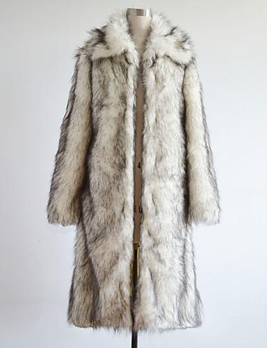 preiswerte Herrenjacken-Herrn Winter Lang Mantel, Einfarbig Langarm Kunst-Pelz Weiß