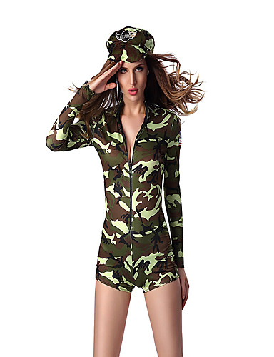 billige Sexy Uniformer-Soldat / Kriger karriere Kostymer Cosplay Kostumer Party-kostyme Dame Film-Cosplay Trikot / Heldraktskostymer Hatt Jul Halloween polyester