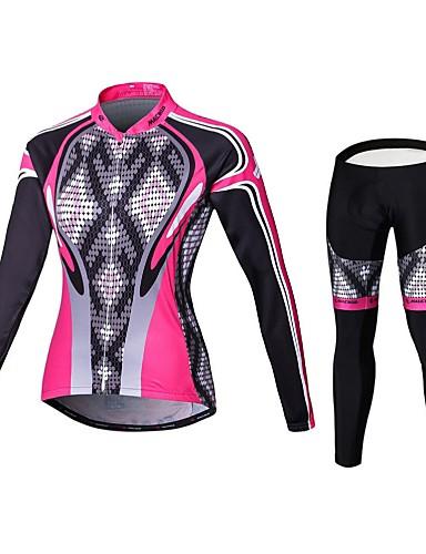halpa Pyöräilyvaatteet-Malciklo Naisten Pitkähihainen Pyöräily jersey ja trikoot Pinkki Geometrinen Englantilainen Pluskoko Pyörä Pyöräily Sukkahousut Liikunta-asut Hengittävä 3D alusta Nopea kuivuminen Urheilu Coolmax