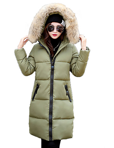 cheap Women's Outerwear-Women's Daily Street chic Solid Colored Zipper Long Padded, Polyester / Spandex Long Sleeve Winter Hooded Gray / Army Green / Khaki L / XL / XXL