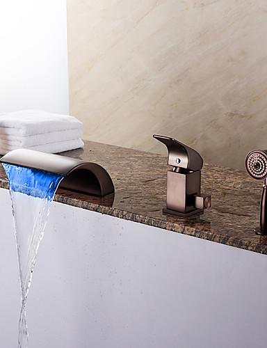 preiswerte LED Badewannenarmaturen-Badewannenarmaturen - Modern Öl-riebe Bronze Romanische Wanne Keramisches Ventil Bath Shower Mixer Taps / Messing / Einhand Drei Löcher