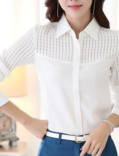 billige Skjorter til damer-Skjortekrage Store størrelser Skjorte Dame - Ensfarget, Utskjæring Arbeid Hvit / Vår