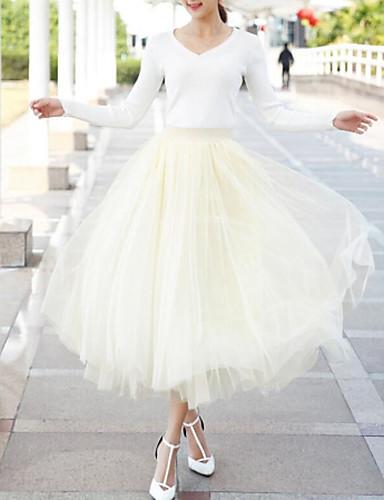 preiswerte Damen Unterbekleidung-Damen Balletröckchen Maxi Schaukel Röcke - Solide Tüll Beige Wein Hellgrau Einheitsgröße