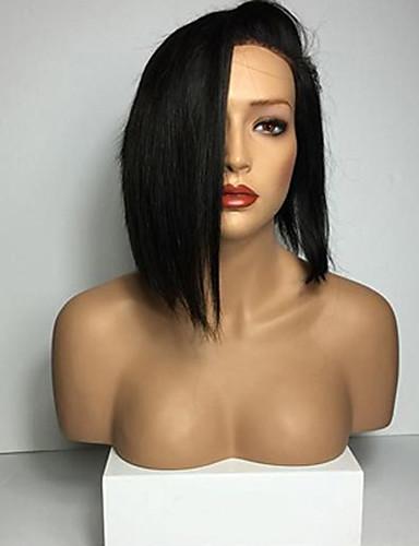povoljno Perike s ljudskom kosom-Ljudska kosa Full Lace Perika Bob frizura stil Brazilska kosa Ravan kroj Perika s dječjom kosom Prirodna linija za kosu Afro-američka perika 100% rađeno rukom Žene Kratko Srednja dužina Perike s