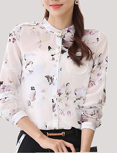 billige Topper til damer-Høy krage Store størrelser Skjorte Dame - Blomstret, Blomst Hvit
