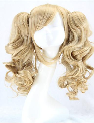 levne Cosplay paruky-Syntetické paruky Paruky ke kostýmům Kudrny Kudrny S culíkem Paruka Blonďatá Blonďatá Umělé vlasy Dámské Blonďatá hairjoy