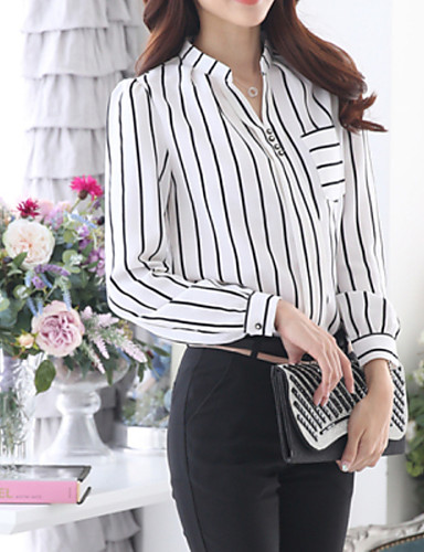 preiswerte Blusen zu kaufen!-Damen Gestreift Übergrössen Bluse, Hemdkragen Weiß / Herbst / mit feinen Streifen