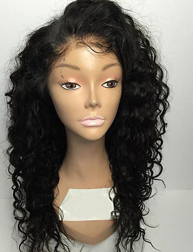povoljno Perike s ljudskom kosom-Ljudska kosa Full Lace Perika stil Kinky Curly Perika Prirodna linija za kosu Afro-američka perika 100% rađeno rukom Žene Kratko Srednja dužina Perike s ljudskom kosom
