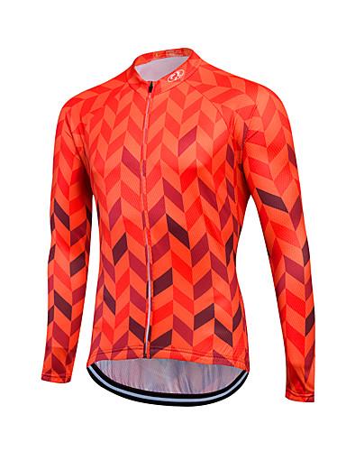 povoljno Biciklističke majice-Fastcute Muškarci Dugih rukava Biciklistička majica Crvena Plava Bicikl Majice Ugrijati Vjetronepropusnost Sportski Zima Runo Odjeća / Rastezljivo