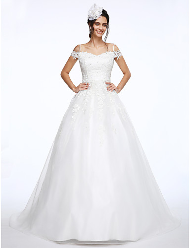 cheap Wedding Dresses-Ball Gown Off Shoulder Court Train Organza / Beaded Lace Short Sleeve Wedding Dresses with Beading / Appliques 2020
