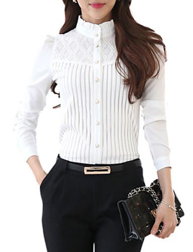 billige Skjorter til damer-Høy krage Store størrelser Skjorte Dame - Ensfarget, Blonde Hvit / Vår / fin Stripe