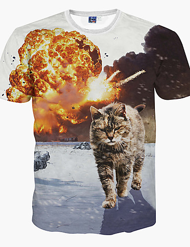 Animal Delgado Gato Hombre Deportes Estampado Camiseta Corta Manga wqIw4z