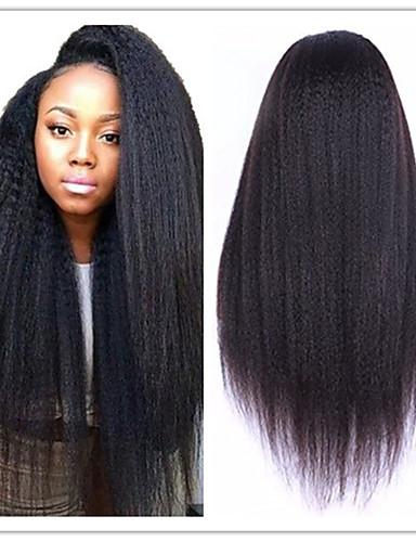 halpa Celebrity Peruukit-Käsittelemätön aitoa hiusta Liimaton puoliverkko Peruukki Kardashian tyyli Brasilialainen Kinky Straight Yaki Luonto musta Peruukki 130% Hiusten tiheys ja vauvan hiukset Luonnollinen hiusviiva