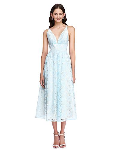 0a89e4f0b86c A-Line V Neck Tea Length Lace Bridesmaid Dress with Sash / Ribbon by LAN  TING BRIDE® / Beautiful Back 5027802 2019 – $109.99