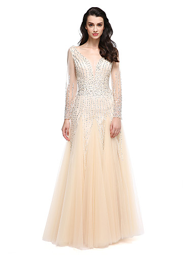 cheap Special Occasion Dresses-A-Line Elegant & Luxurious Elegant Holiday Cocktail Party Prom Dress Plunging Neck Long Sleeve Floor Length Tulle with Beading 2020 / Illusion Sleeve / Formal Evening