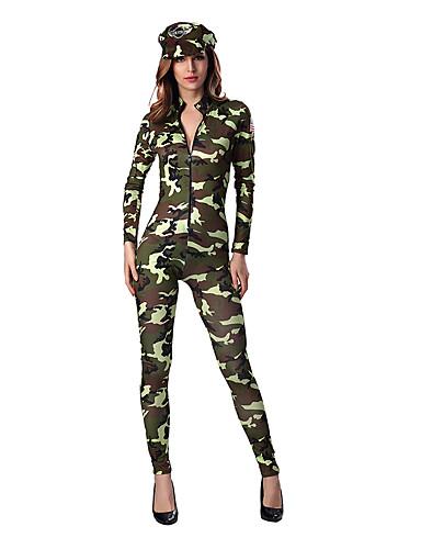 billige Sexy Uniformer-Soldat / Kriger karriere Kostymer Cosplay Kostumer Party-kostyme Dame Halloween Karneval Festival / høytid Terylene Dame Karneval Kostumer Trykt mønster / Hatt