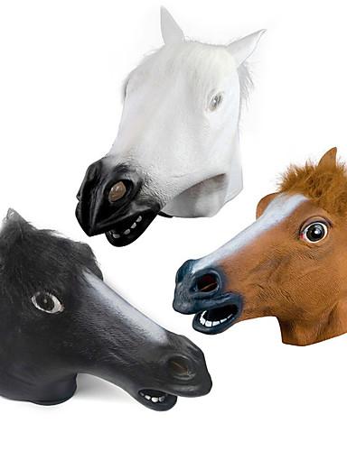 billige Halloween- og karnevalkostymer-Hestehode Haloween-masker Halloween Utstyr Dyremaske Halloweenleker Gummi Fun & Whimsical Kostymefest Skummel Morsom Hestehode Kostume Horrortema Voksne Gutt Jente