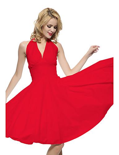 preiswerte Leichtfarbene Kleider-Damen Übergrössen Retro Baumwolle A-Linie Kleid - Rückenfrei, Solide Knielang Halter